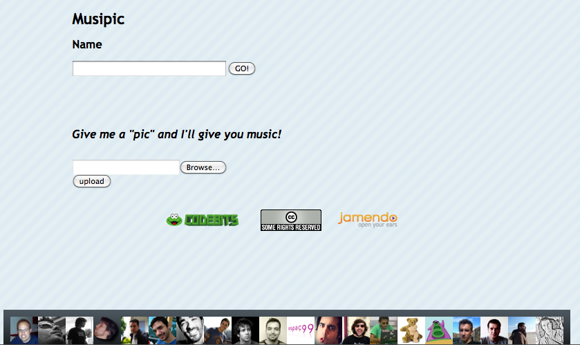 Musipic (Codebits 2009) site screenshot